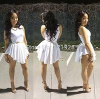 2014 New Spring Summer white/black Sexy Women Bandage mini Dress Sleeveless O-Neck Bodycon Club Dresses elegant party club wear