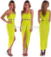 2014 New Spring Summer dress Natural Mid-Calf Asymmetrical Lovely girl Dresses CASUAL MAXI SUMMER Bodycon Club DRESS Dropshiping