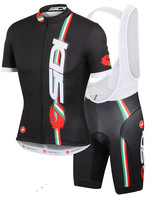 2014 Castelli SIDI Cycling Short Sleeve Clothing Bike Cycle Black Maillot Bib Shorts Set