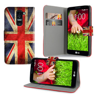 custom print Flip cover card slot stand Butterfly Flower USA UK flag Design Leather wallet case For LG G2 MINI