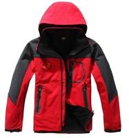 2014 new mountaineering jacket soft shell fleece men's outdoor jacket S-2XL stitching skiwear