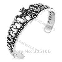 Free shipping! Cross Crown Bangle Stainless Steel Jewelry Gothic Rhinestone Cuff Bangle Women Motor Biker Bracelet SJB0164