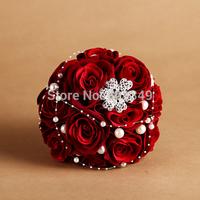 New 2014 European Luxury Stunning Star beaded Silk Rhinestone Pearl champagne Flower Bridal wedding bouquet