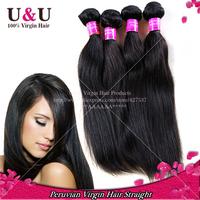 Ms Lula hair Top 6A Grade Peruvian Virgin Hair Straight 4pcs lot 100% Unprocessed Peruvian Straight Virgin Hair Extensions