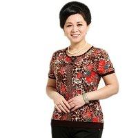 New 2014 Print O-Neck Short Sleeve Old Women Summer T-Shirt Free Shipping XL XXL XXXL XXXXL 8 colors