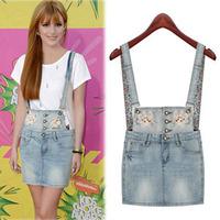 New 2014 Summer Women Strap Body  Fashion Mini Skirt Europe &America  Bust  Denim Skirt