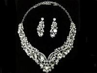 free shipping Neckace earrings set Elegant Rhinestone Jewelry Set for Wedding Bride Party wholesale sky-j093