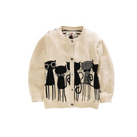 SW4009  children's girl cotton sweater solid cardigan, sweater coat cat print