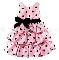 Retail girl cake dress new 2014 girl dresses red with black dot kids dress girl red and pink girl's princess dress