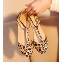 Leopard Print Flat Heel Women's Sandals 2014 Summer Women Summer Shoes 2014 Summer Shoes Fashion Sandals Sweet Free Shipping