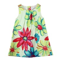 Retail girl dress Flower Painting girl dresses oil new fashion 2014 100% cotton  floral dresses children clothing dresses