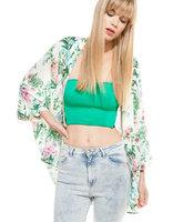 2014 summer new fashion ladies' vintage flower print loose kimono coat non-button cape outwear casual slim brand designer tops