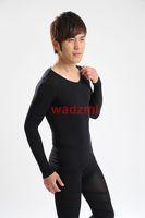 1pc opp package V Neck Men's Taping Inner Long Sleeve Slimming Shaper T shirt Free shipping