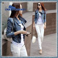 Free shipping hot sale 2014 women's short casual vintage washed denim JACKET ladies' blazer short jean outwear coat size S M L