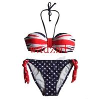 on sale  free shipping Women Sexy bikini swimsuit GB Flag Halter / UK-BritishFlag-Bandeau-Bikini