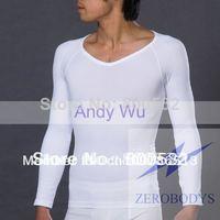 ZEROBODYS Mens Body Shaper Long Sleeve V neckline T shirt black & white size S to XL Body Shaping Underwear Shirt