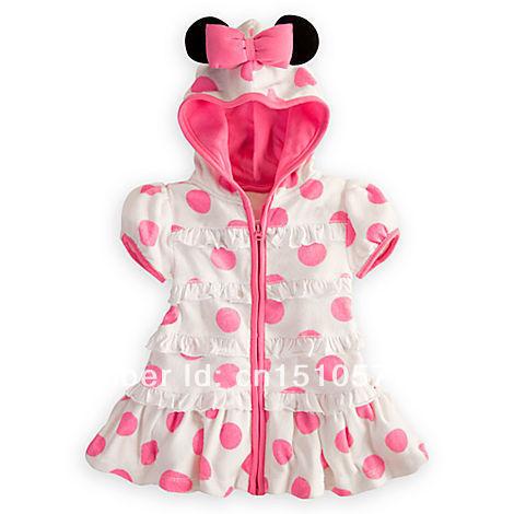 Kidsdress Vestido frete grátis! Atacado Meninas Vestidos Verão Minnie Mouse Outfit Polka bonito vestido da menina com capuz , 5pcs / lot(China (Mainland))