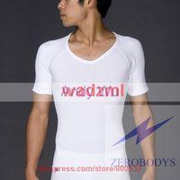 free shipping ZEROBODYS tops for men Comfortable Mens Body Shaper Short Sleeve T-Shirt White and black
