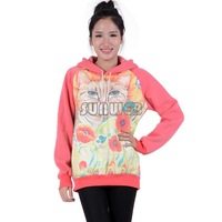 Plus Size Korea Women Winter Hoodies Coat Warm Long Sleeve Printing Sweatshirt Hoodie Outerwear Tops Drop Shipping B6 SV005229