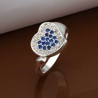Free Shipping Wholesale 925 Sterling Silver Ring,925 Silver Fashion Jewelry Insets Heart Fashion Ring SMTR347