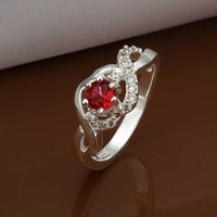 Free Shipping Wholesale 925 Sterling Silver Ring,925 Silver Fashion Jewelry Austria Crystal Fashion Ring SMTR324