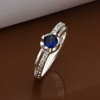 Free Shipping Wholesale 925 Sterling Silver Ring,925 Silver Fashion Jewelry Austria Crystal Fashion Ring SMTR340
