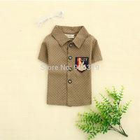 New stars buttons logo shirt pocket boy's Blouse,Children short sleeved shirt,S-XL,free shipping