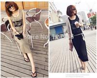 Free shipping women clothing dresses summer  cotton casual solid print sleeveless women tank dress C2022