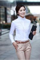 White Blouse 5 XL Female Shirts Plus Size Lady's Blouse Cotton Long Sleeves Elegant Lace Vintage Dress Tops Free Shipping