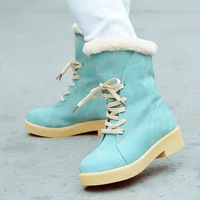 The new women's boots winter fashion must- Korean cute fur boots tendon at the end of round low front lace Martin boots