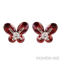 2014 New design multicolor Earrings charn 4 leaves of Zircon stud earrings for women wedding jewelry(FE-20)