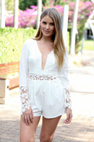 Chiffon Jumpsuit 2014 New Summer Lace Bodycon Rompers long Sleeve Shorts Hollow Out V-neck Sexy Club Playsuit For Ladies