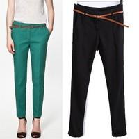 2014 New arrivals Ladies' Cindy color basic slim style pants casual elegant slim cozy pants brand designer pants With belt