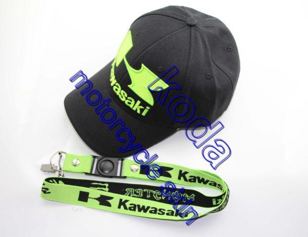 Wholesale embroidery motogp cap motorcycle racing cap kawasaki Casual Cap hang neck BADGE key mobile phone lanyard Rope buckle(China (Mainland))