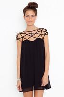 2014 New Fashion Summer Women Cute Novelty Black Party Plain Girl Cut Out Chiffon Mini Shift Dress Sexy Vestidos  de fiesta