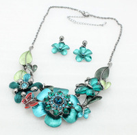 Vintage elegant trendy african flower jewelry sets fashion brand rhinestone crystal necklace earring set for women free shipping