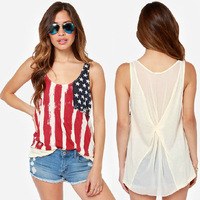 women new fashion 2014 summer Autumn loose striped tank top American flag printed back chiffon stitching folds T-shirt S-XXXL