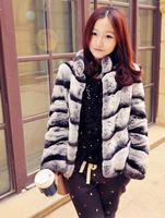 2014 New Rex Rabbit Fur Coat Luxury Chinchilla Fur Jacket Women Fashion Fur Outwear EMS Free Shipping TPC016