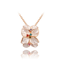 2014 new arrive Delicate flower necklace  plated with AAA zircon,fashion  rose gold jewelry for women party