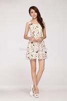 2014 women's dress Summer sleeveless chiffon printing  High-grade fashionable o-collar*