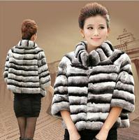 Real Natural Rex Rabbit Fur Coat Imitate Chinchilla Luxury Women Rex Rabbit Fur Jacket Top Quality Best Sale Discount TPC019