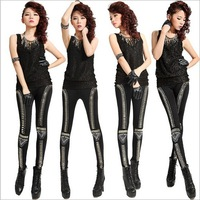 New Korean Fashion Personality Fluorescent Color Pantyhose Vertical Stripes Stitching Leggings