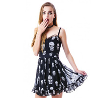 lace patchwork skull print women slim chiffon strapped short dress for wholesale and free shipping haoduoyi