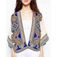 2014 New Fashion Ladies' Vintage Ethnic style floral print kimono cardigan no-button  three quarter sleeve coat outwear tops