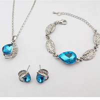 Wholesale high quality female short design austrian crystal pendant necklace+earring+bracelet bangle jewelry set free shipping