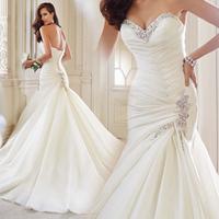 2015 Loveliest Wedding Gown Sweetheart Beaded Pleating Sleeveless Chapel Train Organza Mermaid Gown Bridal Dress Designer