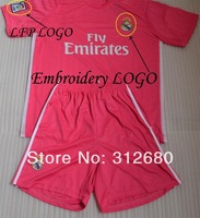 New! 2014 2015 real madrid pink high quality soccer Jerseys sets (shirts + shorts) 14 15 RONALDO BALE ISCO football jersey