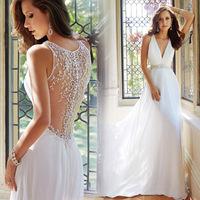 2015 Elegant Wedding Gown Plunging V Neckiline Back Embroidery Waist Beaded Sleeveless Chiffon Chapel Train Design Bridal Dress