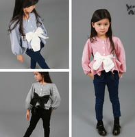 2014 New Autumn Long Sleeve Elegant Striped Girls Shirt / Blouse with Big Bow Kids Blouse with BOW Top Clothes