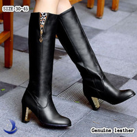 Big size 30-45 Genuine leather women's boots winter spring ladies high heels boots over the knee long boots brand designer B174